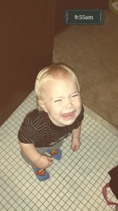 The temper tantrum, while wearing the necklace he put on himself was just WAY too cute :)