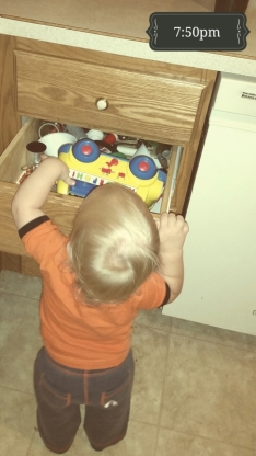 He tried five times before abandoning this idea. Turns out, trucks do not fit into a kitchen drawer.