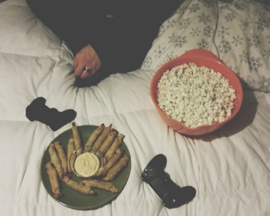 NYE--my husband, video games, movies, and snacks.