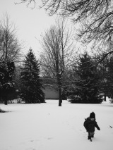 A, snowy, play day.