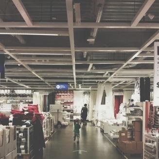Tuesday morning, after an airport trip, running through Ikea.