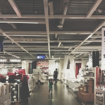 Tuesday morning, after an airport trip, running through Ikea.