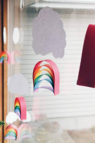 Rainbows in the window brighten everything up a little. We did these on day one of break. We played a hide-and-seek game with them, then we hung them!