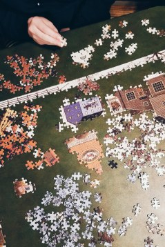 More puzzle. The 'puzzle table' is in the middle of the house--it's a great way to connect, while also being busy.