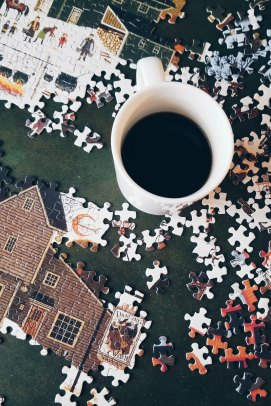 I woke up so tired, and feeling burnt out from the rough day before--SO, the little ones got 30 extra minutes of morning screen time so I could enjoy a hot cup of coffee, and puzzle time. Alone.