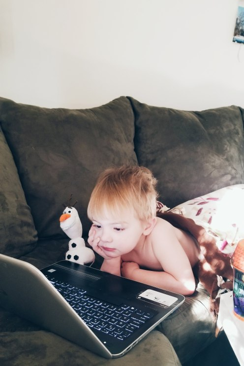 A morning with Blippi, and Olaf. This is how we start most days...on the couch, relaxing--all while I prep what we'll be doing next. <3