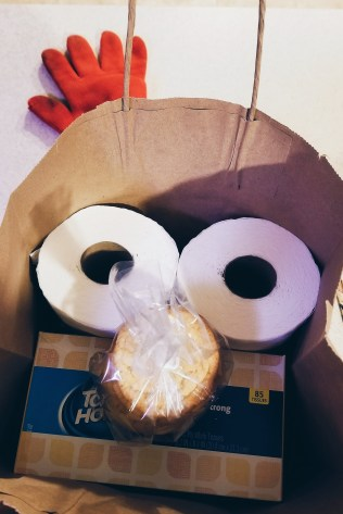 The care package I was putting together for my dad ended up looking like some weird, pandemic-inspired, Sesame Street character. The fresh sugar cookies, and the toilet paper, were definitely the highlights.