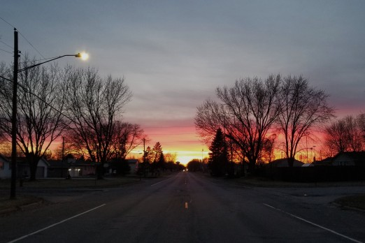 On an otherwise hectic night, on an otherwise busy street--we stopped to watch the sunset.